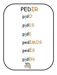 Spanish verbs - Present tense of PEDIR = To ask for