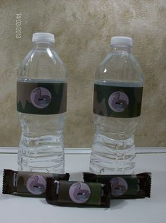 "Camo water bottles and party favors for a redneck or ""Duck Dynasty"" party. Cute and easy."