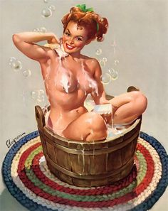 """Bubbling Over"" by Gil Elvgren 1951"