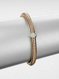 Roberto Coin Diamond 18K White & Rose Gold Bangle Bracelet