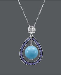 Carlo Viani 14k White Gold Necklace, Turquoise (5-3/4 mm) and Multistone Teardrop Pendant - Necklaces - Jewelry & Watches - Macy's