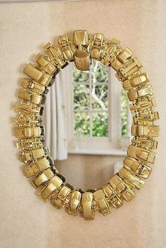 Molduras de espelhos em materiais reciclados. Faça a sua!!!