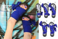 """Slide Styling Card: Low 1.5"""" wedge ribbon sandals styled with 1.5"""" Cobalt ribbons."""