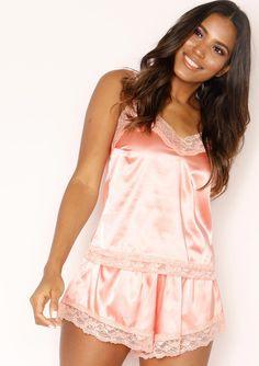 678b664997 Missyempire - Vicki Coral Satin Lace Trim Pyjama Set