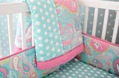 If I ever have a baby girl she WILL have this bedding! Too, cute!!!......Pink & Aqua nursery toddler bedding inspritation