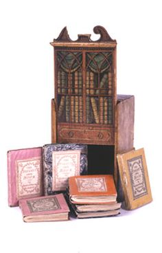 """Infants Own Book-case. London, Darton and Harvey, 1800-1801. Website with al sorts of miniature books: """"Miniature books, most of which are less than three inches tall and some of which are smaller than a penny, have delighted readers for centuries."""""""