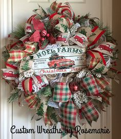 Christmas wreath idea - plaid, tree and red truck ribbon Farmhouse Christmas Decor, Country Christmas, Christmas Home, Vintage Christmas, Christmas Holidays, All Things Christmas, Christmas Crafts, Holiday Decor, Christmas Ideas