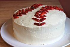 Baseball cake styled with strawberries. Brilliant.