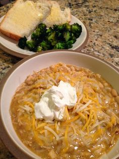 White Chicken Chili  --  chicken breasts, canned beans, canned corn in a well-seasoned creamy base.