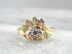 Vintage Black Hills Gold Rose and Yellow Gold Ring by MSJewelers