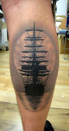 Ship tattoo, water, moon