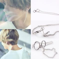 Kpop Bts V Earrings Bangtan Boys V Stud Doulbe Ring Chain Earrings Fashion Jungkook Earrings, Bts Earrings, Fashion Earrings, Bts Jin, Bts Taehyung, Jimin Jungkook, Minimalist Earrings, Minimalist Jewelry, Mochila Do Bts