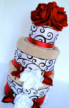 Wedding Shower Towel Cake  Custom Listing by DomesticDivaDesignz, $65.00