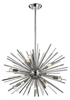 The ELK Lighting Starburst 12 Light Pendant Light is perfect for adding contemporary, stunning lighting design to your space. Its on-trend starburst. Sputnik Chandelier, Chandelier Lighting, Elk Lighting, Lighting Design, Lighting Ideas, Track Lighting, Light Bulb Wattage, Candelabra Bulbs, Polished Chrome