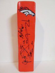 SOLD OUT! 2012 Denver Broncos team signed Rawlings football touchdown end zone pylon w/ proof photo.  Proof photos of the Broncos signing will be included with your purchase along with a COA issued from Southwestconnection-Memorabilia, guaranteeing the item to pass authentication services from PSA/DNA or JSA. Free USPS shipping. www.AutographedwithProof.com is your one stop for autographed collectibles from Denver sports teams. Check back with us often, as we are always obtaining new items.