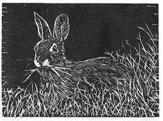 New Woodcut Relief Print - Rabbit - Artist Daily Linoprint, Sgraffito, Wood Engraving, Learn To Paint, Woodblock Print, Printmaking, Art Prints, Block Prints, Rabbits