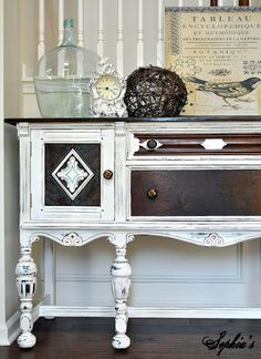 DIY: Classic Cottage Sideboard Tutorial - dark furniture & a layer of ASCP, distress & wax & all the details come to life!