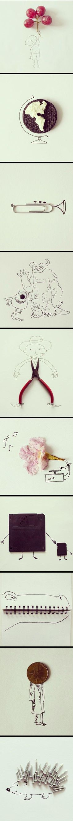 Everyday objects blended with simple sketches