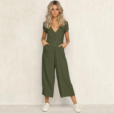 1d8e7487d26 Sexy v neck wide leg jumpsuit for women 2018 Summer fashion short sleeve  khaki rompers womens