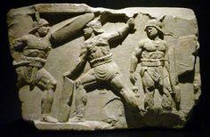 - Rome Tiber Gladiator Relief . Two Provocatores and a Murmillo ./tcc/