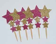 gold star topperpink star cake topperstar cake by CuddleCute
