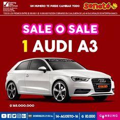 Este lujoso Audi A3 puede ser tuyo por solo G. 10.000 ¿Qué esperas para comprar tu cartón? ¡Pedí #Seneté! 🎉🚗
