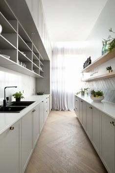 The Block 2018: my tour of kitchens, laundries and wardrobes - getinmyhome. Stunning hamptons kitchen and butler's pantry / walk in pantry with herringbone tiles and timber parquetry flooring. Shaker cabinets. #hamptonskitchen #kitchenideas #kitchendecor