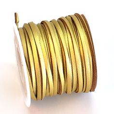 Gold Plated Leather Suede Cord at R25/20m from Paradise Creative Crafts
