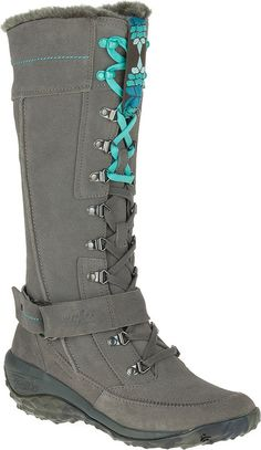 Cushe Womens Allpine Tundra Waterproof Leather Winter High Boot Grey Turquoise * Continue to the product at the image link.