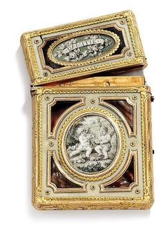 A LOUIS XV TWO-COLOUR GOLD-MOUNTED IVORY, ENAMEL AND SHELL CARNET-DE-BAL SET WITH MINIATURES PARIS, 1771/1772, MAKER'S MARK RUBBED, WITH THE CHARGE AND DISCHARGE MARKS OF JULIEN ALATERRE 1768-1774.