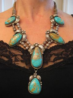 Huge Vintage Old Pawn Navajo Pilot Mountain Turquoise Squash Blossom Necklace | eBay