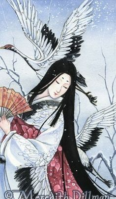 Crane Japanese art limited edition print fairy by meredithdillman
