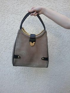 e5e25747e9b3d4 Vintage 60s 70s Mantessa suede and leather large purse