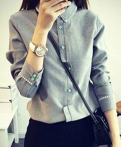 Stylish Shirt Collar Splicing Long Sleeve Shirt For Women