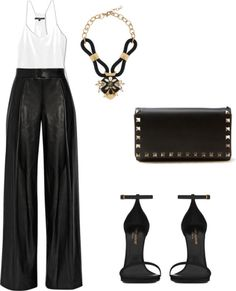 DKNY faux leather pants, basic cami, black sandals and statement jewelry.