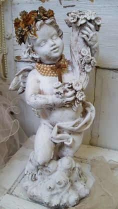 Shabby chic cherub statue handmade crown by AnitaSperoDesign, $290.00