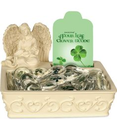 Four Leaf Clover Stones in Angel Display
