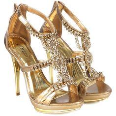 Escarpin doré et strass talon métal doré 09110324 ❤ liked on Polyvore featuring shoes, sandals, heels, jasmine, sapatos, heeled sandals and claw shoes
