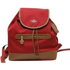 Pre-owned Coach Sawyer Brown Leather Trim Canvas F37240 Nwt Backpack ($165) ❤ liked on Polyvore featuring bags, backpacks, classic red, coach bags, canvas rucksack, red canvas bag, daypack bag and knapsack bag