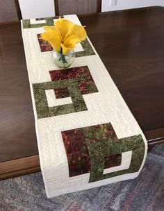 Modern Batik Table Runner, Handmade Green Cream & Brown Quilted Tablerunner, Reversible Table Quilt, Contemporary Dining Decor by FabriArts on Etsy Brown Color Schemes, Invisible Stitch, Dining Decor, Quilted Table Runners, Quilted Wall Hangings, Green Cream, Table Toppers, Decorating Your Home, Sewing Projects