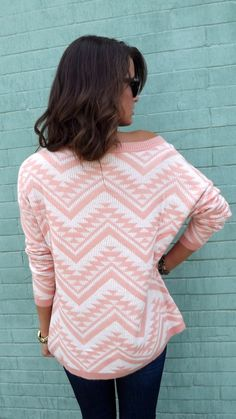 Cozy Aztec Sweater - Peach from The Rage