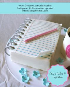 Notebook Birthday Cake. Follow me:www.faebook.com/chioscakes Instagram: @chioscakesncupcakes #Notebook #Notebookcake