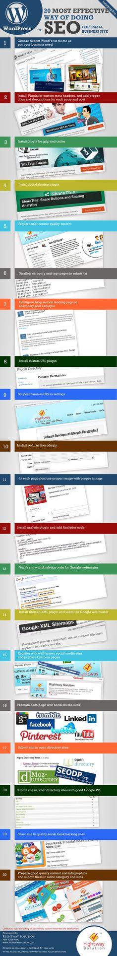 Más efectivas actividades de SEO en WordPress. #nfografía en inglés. Título original: Most effective seo hacks for Wordpress