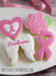 Breast Cancer Awareness Decorated Cookies (think pink--believe we will find a cure!) - simplysweetsbyhoneybee.com