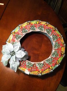Lottery ticket wreath is a great gift for the holidays that may keep on giving;)