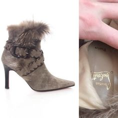 Christian Louboutin Suede Fur Trimmed Boot Amazing Christian Louboutin gray suede boots with fur trim. Size 39 1/2 Christian Louboutin Shoes