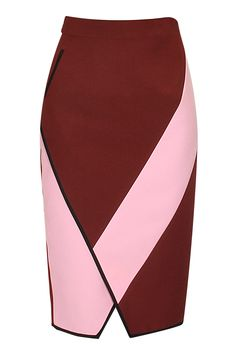 KANIKA GOYAL Maroon color blocked pencil skirt available only at Pernia's Pop-Up Shop.