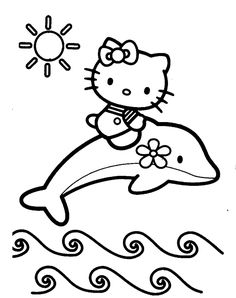 Hello Kitty Dolphin Coloring Pages Sketch Page