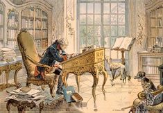 SOLDIERS- Röhling: Frederick the Great in his study. Illustration from House of Hohenzollern in Pictures and Words by Carl Rohling and Richard Sternfeld. Published by Martin Oldenbourg in Berlin, c Classic Paintings, Great Paintings, History Images, Art History, History Of Germany, Friedrich Ii, Frederick The Great, Seven Years' War, Military Love