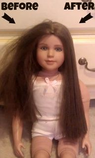 http://progresslightingparts.com  An easy fix for tangled doll hair - works wonders on those American Girl dolls!  liquid fabric softner and water in a spray bottle or in a sink and dip dolls hair in it. This would be good to do if you were going to sell your childhood dolls :)